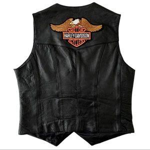 Vintage Harley Davidson Leather Bustier Biker Vest